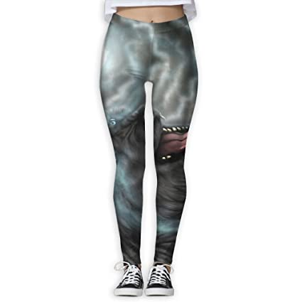 ZGZGZ Womens Dark Moon Wolf Printed Yoga Pants Workout Capris Lightweight Yoga Leggings