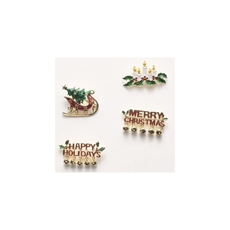 Club Pack of 16 Holiday Greeting Christmas Jewelry Pins with Rhinestone Accents