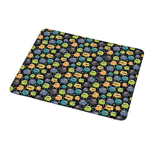 Mouse Pad Unique Custom Alien,Cute Funny Characters Cartoon Style Halloween Themed Monsters Abstract Background,Mousepad Great for Laptop,Computer 9.8