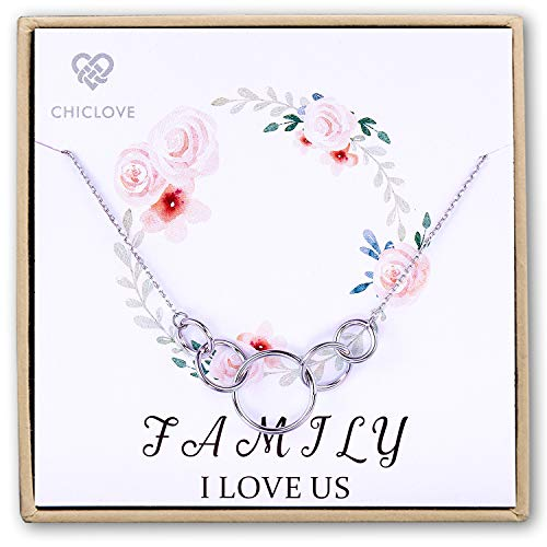 CHICLOVE Mother Necklace Sterling Silver Five Circles Family Necklace, Best 4 Wife, Family I Love Us