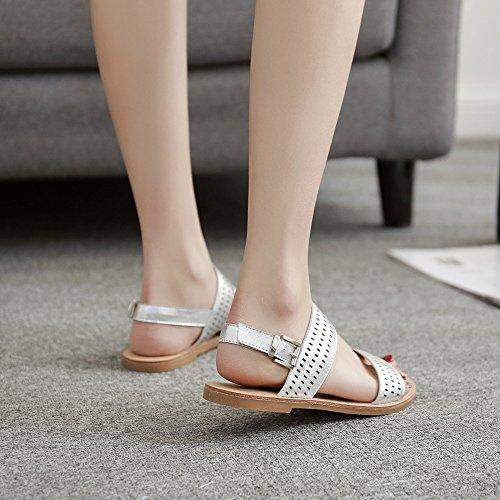 Silver Corte Flip De Flat De Imitación SlingBack Gold Silver Señoras Cuero Flop Fashion Tamaño Sandalias Ixf6vnw