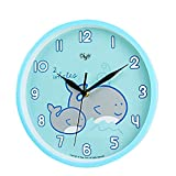 Baby Nursery Children Wall Clock -SILENT- 10 Inch Large - Ocean Nautical Theme - Best Child Bedroom Décor Ideas for Boys/Girls/Toddler (Mommy & Me Whale)