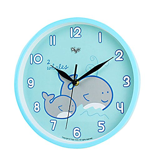 Childrens Factory Kids Playroom (Baby Nursery Children Wall Clock -SILENT- 10 Inch Large - Ocean Nautical Theme - Best Child Bedroom Décor Ideas/Baby Shower Gifts for Boys/Girls/Toddler (Mommy & Me Whale))