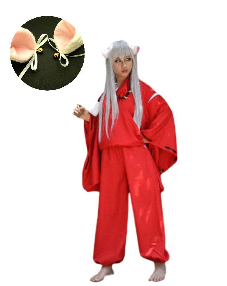 SSJ Inuyasha Style Kimono Cosplay Japanese Anime Kimono [Cat Ear Included] Hero Higurashi Costume (Asia-L)