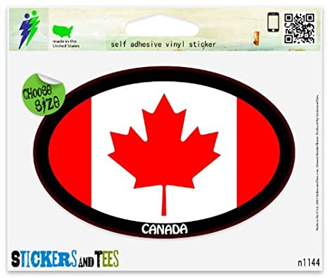 "Canada Flag Oval car window bumper sticker decal 5/"" x 3/"""