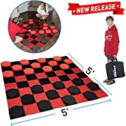EasyGoProducts Giant Checkers Game – Indoor Outdoor – Family Game – Lawn Game - 5'