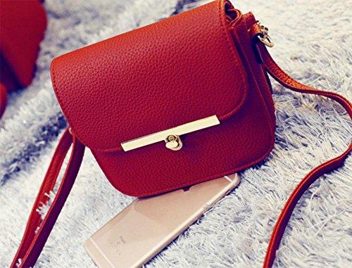 MEILI Bolsos de mujer, bolsos de moda Bolso de mensajero Bolso cuadrado pequeño simple Bolso diagonal de hombro retro , grey red large