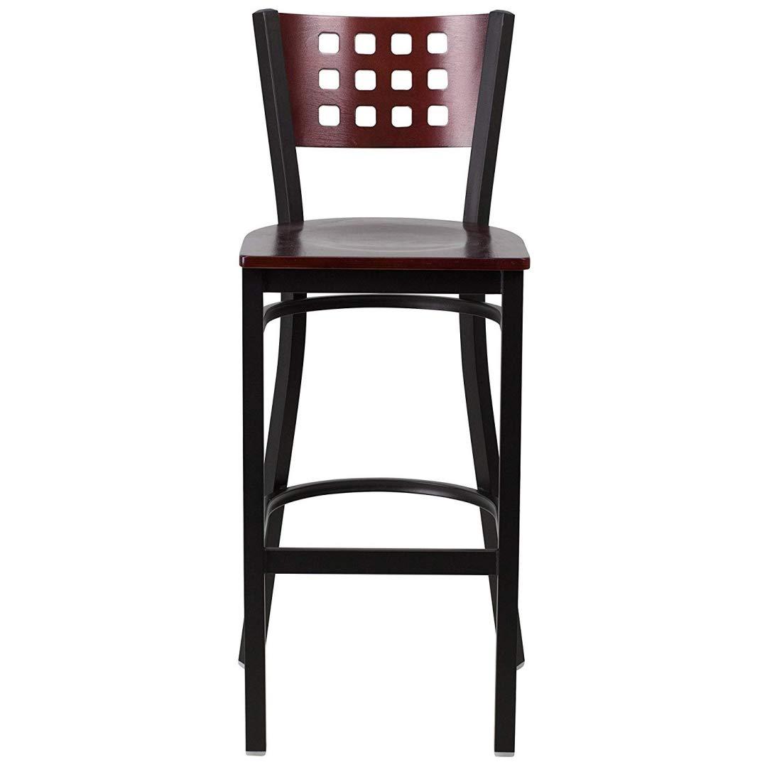 Modern Style Metal Dining Bar Stools Pub Lounge Restaurant Commercial Seats Mahogany Wood Cutout Back Design Black Powder Coated Frame Finish Home Office Furniture - (1) Mahogany Wood Seat #2207 by KLS14 (Image #4)