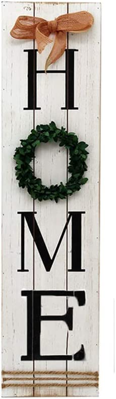 Kcelarec Wooden Home Sign Plaque with Wreath Decor,Large Farmhouse Wall Hanging Decor for Entryway, Living Room