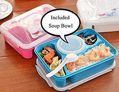 Bento Box Lunch Kit with 4 food compartments, Leak Proof Soup Bowl, Spoon, Henry Home Goods Healthy Food Game card, and Dice Bundle
