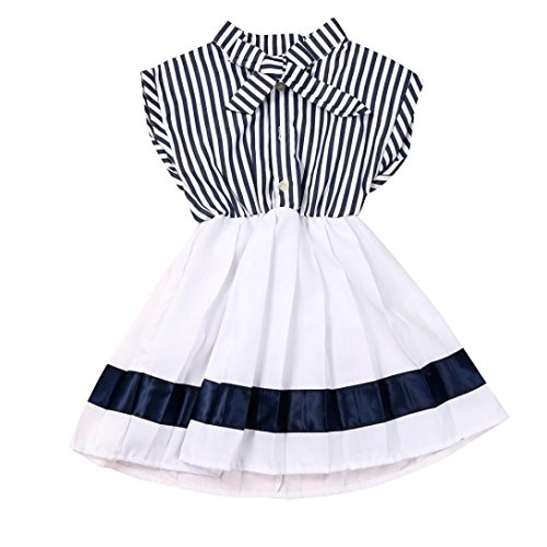 Clearance! Baby Girls Navy Striped Princess Dress Princess Party Clothes Stripe Sleeveless Dresses (2/3T)