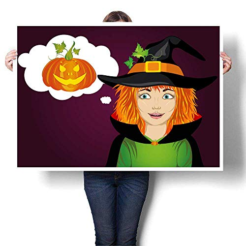 wall hangings Halloween Girl in hat and witch costume is surprised wow Vector Thinking bubble with pumpkin inside Greeting card or invitation for Decorative Fine Art canvas Print Poster K 36