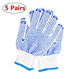 Yamde Work Gloves 5 Pairs, LOT - 5 Pairs Per Package Work, Gardening, Safety Gloves with PVC Dots for Hand Protection, Classic Knitted, - Mechanic, Construction, Industry, Garden use, Bulk, Set