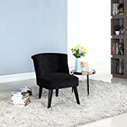 Divano Roma Furniture Classic and Traditional Living Room Velvet Fabric Accent Chair with Tufted Details (Black)