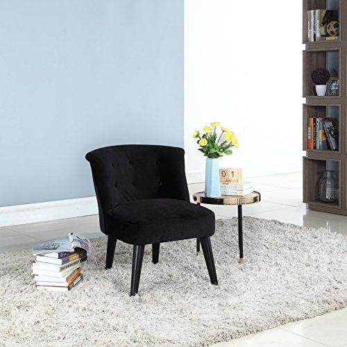 e Classic and Traditional Living Room Velvet Fabric Accent Chair with Tufted Details (Black) ()