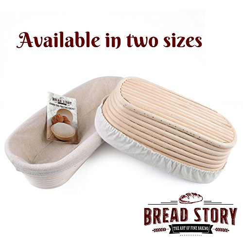 (14x6 inch) Oval Proofing Basket Set by Bread Story– Oval Banneton/Brotform Handmade Unbleached Natural Cane Bread Baking Kit with Cloth Liner - Course Discount, & Coupon by Bread Story (Image #1)
