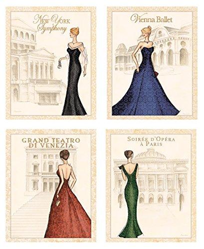 4 World Fashion Formal Gown Art Prints Symphony Ballet ...