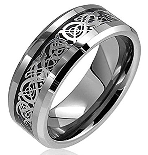 Tungsten Steel Ring (Zealmer Men's Celtic Dragon Band Ring Silver Tone Inlay Comfort Fit Stainless Steel Wedding Band Ring 9)