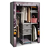 HOME BI Portable Wardrobe Closet, Non-woven Fabric Clothes Closet Storage for Clothes with 2 Drawers, Large Storage Space, Easy to Assemble, 41.34'' L x 17.72'' W x 62.2'' H (Car-printed)