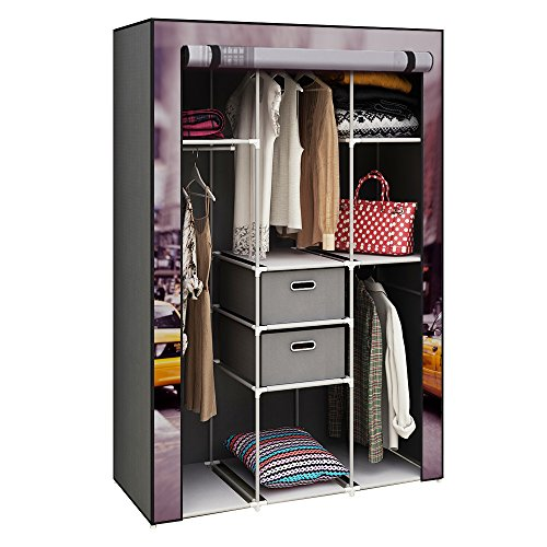 """HOME BI Portable Wardrobe Closet, Non-Woven Fabric Clothes Closet Storage for Clothes with 2 Drawers, Large Storage Space, Easy to Assemble, 41.34"""" L x 17.72"""" W x 62.2"""" H (Car-Printed)"""