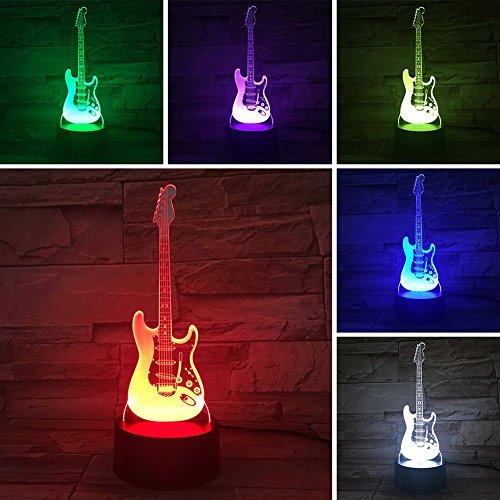 YOEDAF - Luces de noche 3D eléctricas para niños, lámpara de noche para niños, bajo con forma de guitarra, 7 luces LED...