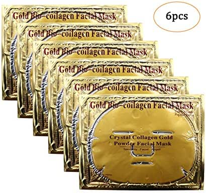 Genuva 6 Pieces 24K Gold Facial Masks Crystal Collagen Face Mask Sheet Facial Patch Peel Off Moisturizing Facial Mask For Anti Aging Puffiness Skincare Anti Wrinkle Deep Tissue Rejuvenation
