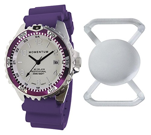 New St. Moritz Momentum M1 Splash Dive Watch with Eggplant Bezel, Eggplant Hyper Rubber Band & FREE Watch Protector (Valued at $12.95) for Added Protection to the Glass Face of Your Dive Watch (Momentum Watch Dive)
