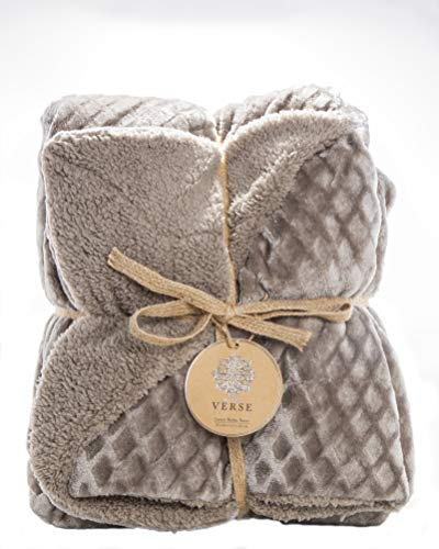 Blanket Fleece Berber (ReLive Reversible Velvet Luxury Berber Throw Blanket 50x60 (Dark Brown))