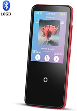 AGPTEK C10 Reproductor Mp3 16 GB Bluetooth 4.0 con HD Pantalla Tactil de 2.4 Pulgadas, Altavoz y Radio FM, Hi-Fi Lossless sonido, Color Rojo