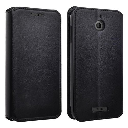 Black Slim Leather Executive Magnetic Leather Flip Wallet Case with 2 Credit Card Slots, 1 Cash Compartment and Foldable Kickstand Feature (BLACK LEATHER SLIM WALLET) ()