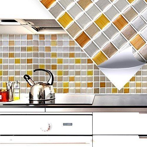 4 Set 25, 3 x 25, 3 cm Grandora Mosaico 3D Adesivo per piastrle W5287 autoadesivo Cucina Bagno Adesivo da muro Decorazione piastrelle Pellicola rame oro argento