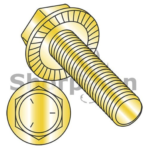 Serrated Hex Flanged Washer Fully Threaded Grade 5 w/Head Markings Zinc Yellow 3/8-16 x 1 BC-3716MWW5Y (Box of 750) weight 35.63 Lbs from Shorpioen
