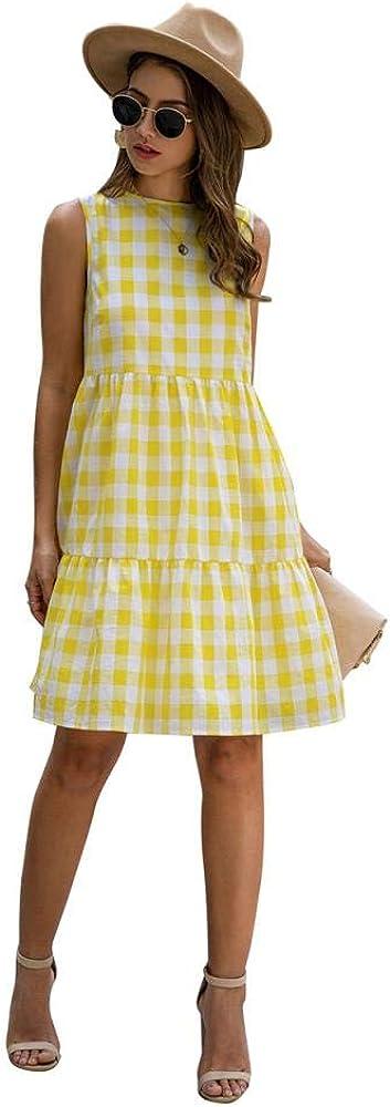 Women Mini Dress Summer Casual High Waist Plaid Skirt Sleveless Skater Dress