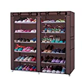 LEADZM 6-Row 2-Line 12 Lattices Non-woven Fabric Shoe Rack,Closet&Cabinet&Shelf Shoe Storage Organizer with Dust-proof Water-proof 36-Pair Coffee