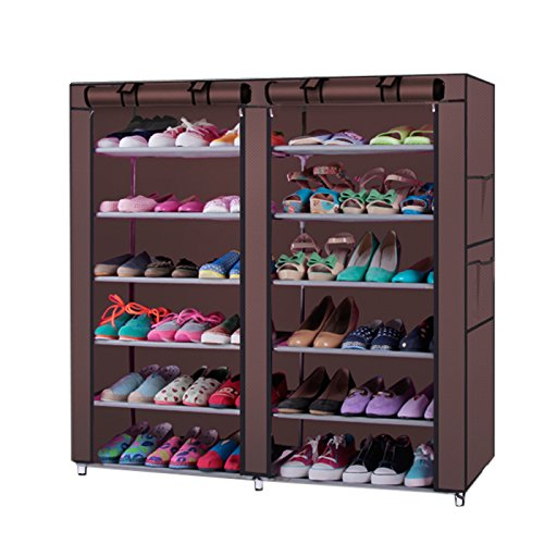 Valuebox 6 Tiers 2 Rows Doors Shoe Rack With Dustproof Cover Closet ,36