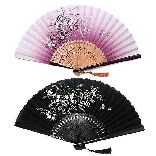 Sunnyac Hand Folding Fan, Japanese Bamboo, Fabric Handheld Fans in Delicate Box, Chinese Vintage Retro Style Handcrafted Fans and Patterns, Great Gift for Women, Girls - Pattern Handcrafted Floral