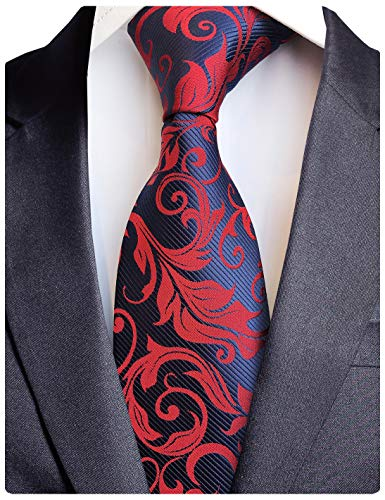 GUSLESON Brand New Paisley Silk Ties Mens Red Navy Wedding Necktie (0734-02)