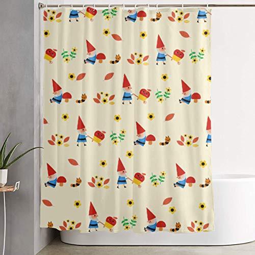 RF94nu Cute Gnome Pattern Mildew Resistant Fabric Waterproof Bathroom Shower Curtain