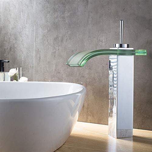 毎日の装飾温水と冷水蛇口鉛フリー銅材料バスルーム洗面台耐摩耗性ガラス滝蛇口耐久性のある洗面所用蛇口