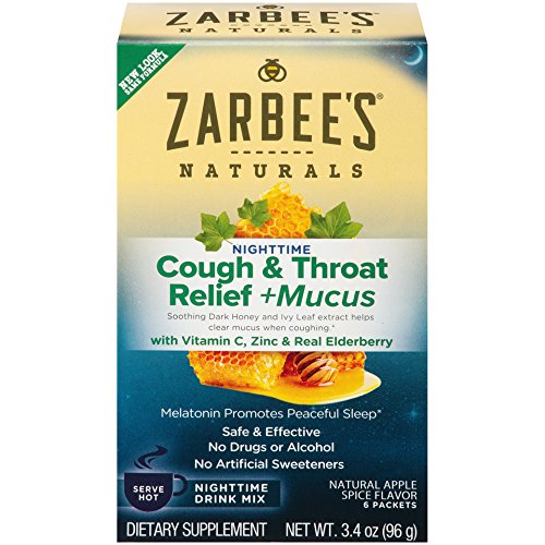 Zarbee's Nighttime Cough Relief & Mucus - Natural Apple Spice with Real Ivy Leaf Extract - 3.4 oz, Pack of 2