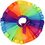 Jastore Girls Layered Rainbow Tutu Skirt Dance Dress Ruffle Tiered Clubwear L