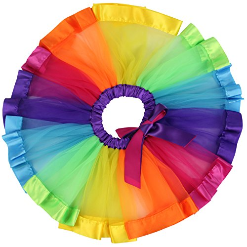 Jastore Girls Layered Rainbow Tutu Skirt Dance Dress Ruffle Tiered Clubwear (Star Tiered Dress)