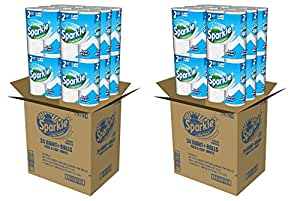 Sparkle Paper Towels, 24 Giant Plus Paper Towel Rolls, Pick-A-Size, White (2 PACK)