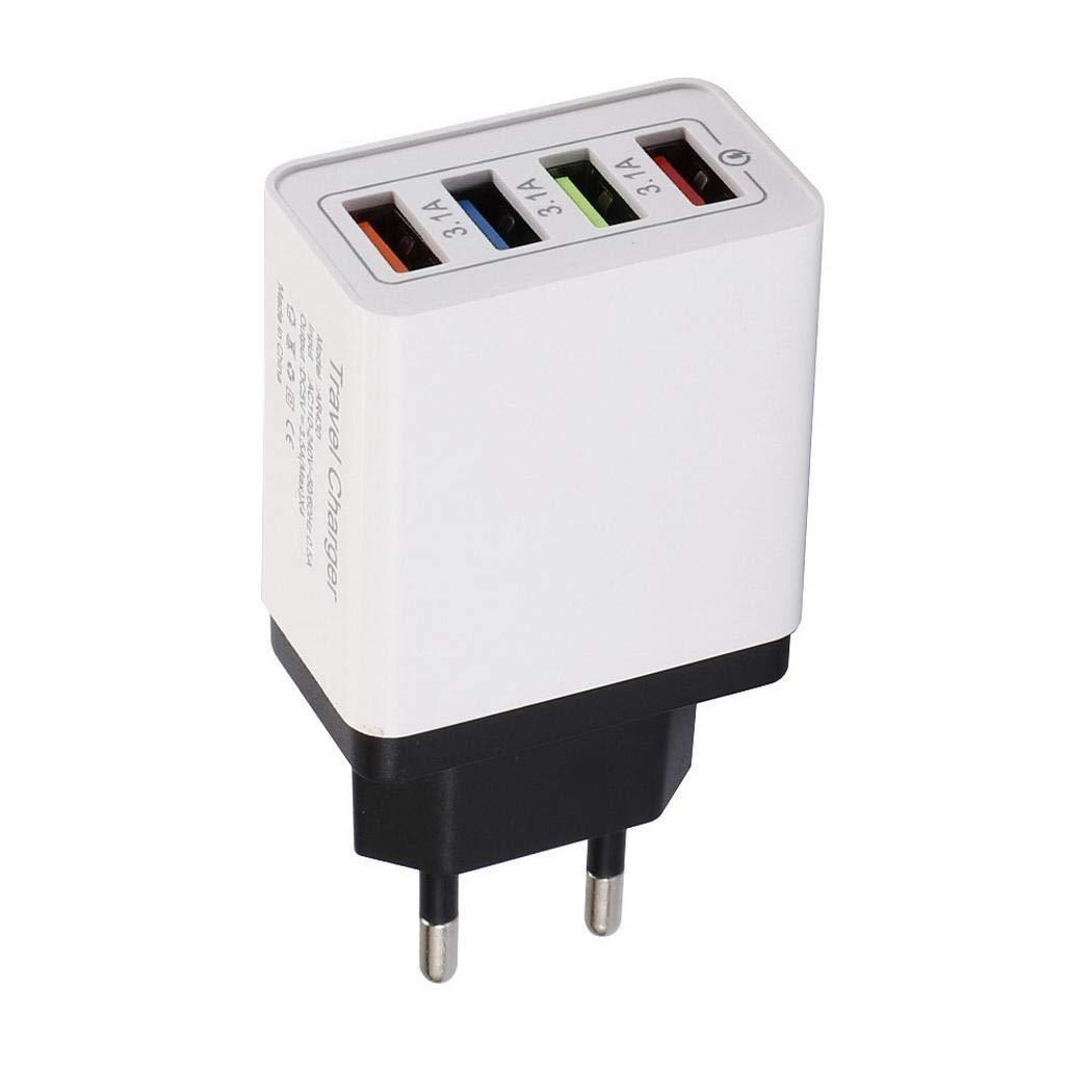 pairris 4 Puertos USB Colorido Cargador 3A Cabezal de Carga de Viaje para teléfono móvil iPad Bases de Carga