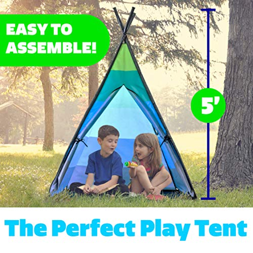Teepee Tent for Kids – Happy Hut Kids Play Tent for Boys or Girls, Indoor Outdoor Portable Childrens Play Tent w/ Safari Projector and Tote (Blue)
