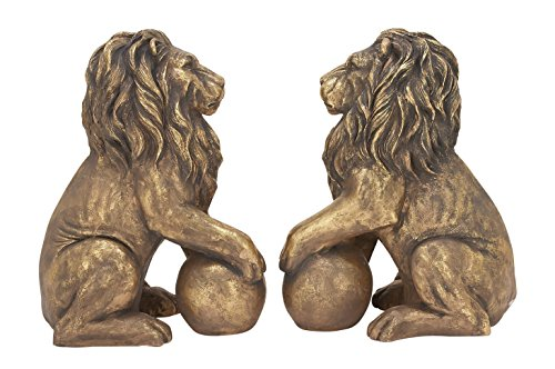 Benzara 77157 Polystone Lions Pair 24''W, 32''H, Gold Animal Statue by Benzara (Image #2)