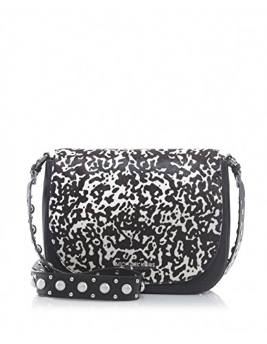 Michael Kors Hayes White & Black Print Haircalf Leather Large - And Michael Black Kors White