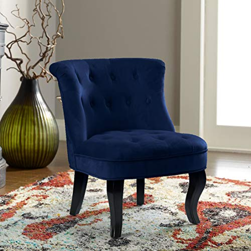 Navy Blue Upholstered Chair | Jane Tufted Velvet Armless Accent Chair with Black Birch Wood Legs - Sapphire - Chair Upholstered Navy