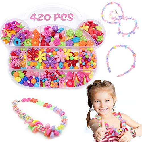 Birthday Gifts for Girls Age 4 5 6 7 8 10 Years Old, NeWisdom DIY Girls Pop Beads for Jewelry Making - Bear Candy
