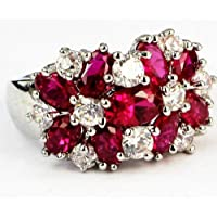 Lady/Womens White 925 Silver Filled Red Ruby Wedding Ring Gift size 6-10#by pimchanok shop (7)